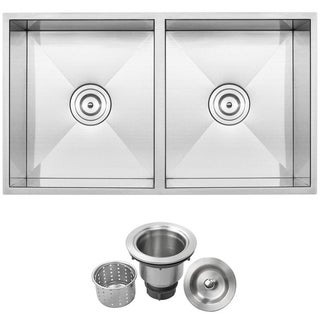 Ticor S6501 Stainless Steel 16-gauge Double Equal Bowl Undermount Square Kitchen Sink
