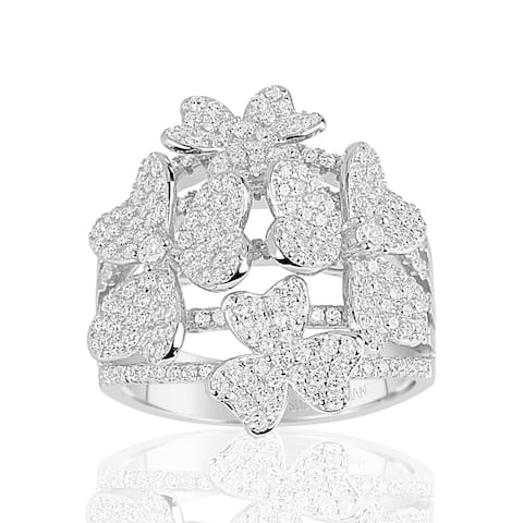 Suzy L. Sterling Silver Cubic Zirconia Multi Flower Ring
