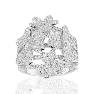 Suzy Levian Sterling Silver Cubic Zirconia Multi Flower Ring