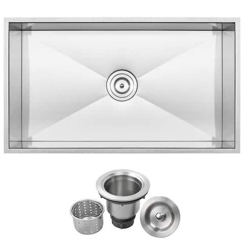 """31 1/4"""" Ticor S6503 Pacific Series 16-Gauge Stainless Steel Undermount Single Basin Zero Radius Kitchen Sink"""