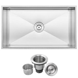 "31-1/4"" Ticor S6503 Stainless Steel 16-gauge Single Bowl Undermount Square Kitchen Sink with Zero Radius Corners"