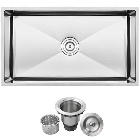 "31 1/4"" Ticor S6513 Pacific Series 16-Gauge Stainless Steel Undermount Single Basin Kitchen Sink"
