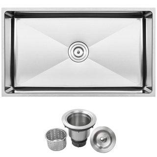 "31 1/4"" Ticor S6513 Pacific Series 16-Gauge Stainless Steel Undermount Single Basin Kitchen Sink"