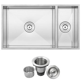 "31 1/4"" Ticor S6502 Pacific Series 16-Gauge Stainless Steel Undermount 70/30 Ratio Double Basin Zero Radius Kitchen Sink"