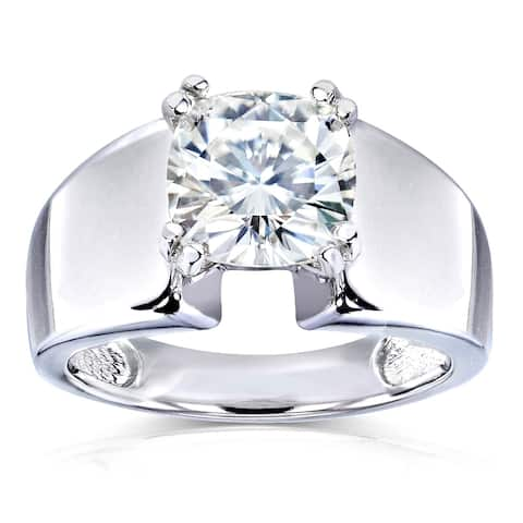 Annello by Kobelli 14k White Gold 2ct Cushion Moissanite Solitaire 4-prong Wide Flare Band Engagement Ring