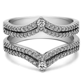 Sterling Silver 1 1/2ct TDW Diamond Double Row Chevron Style Anniversary Ring Guard