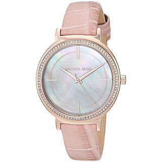 Michael Kors Women's 'Cinthia' Crystal Pink Leather Watch