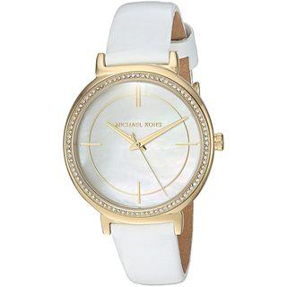 Michael Kors Women's 'Cinthia' Crystal White Leather Watch