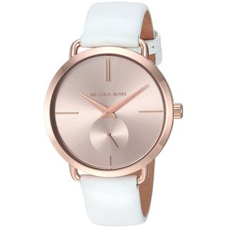 Michael Kors Women's MK2660 'Portia' White Leather Watch