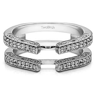 10k Gold 1/3ct TDW Diamond Cathedral Style Ring Guard with Milgrained Edge|https://ak1.ostkcdn.com/images/products/14777930/P21300033.jpg?impolicy=medium