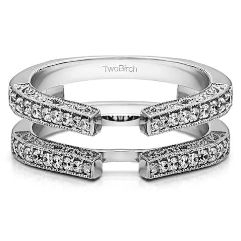 Sterling Silver 1/3ct TGW Cubic Zirconia Cathedral Milgrain Edge Ring Guard