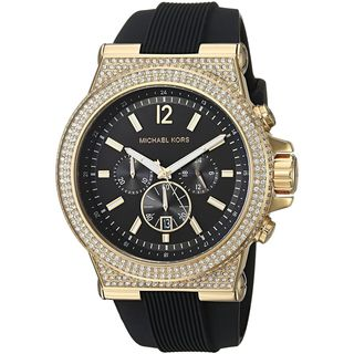 Michael Kors Men's MK8556 'Dylan' Chronograph Crystal Black Silicone Watch