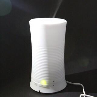 White Newfashioned Thread-textured Ultrasonic Mini LED Humidifier for US Standard Plug