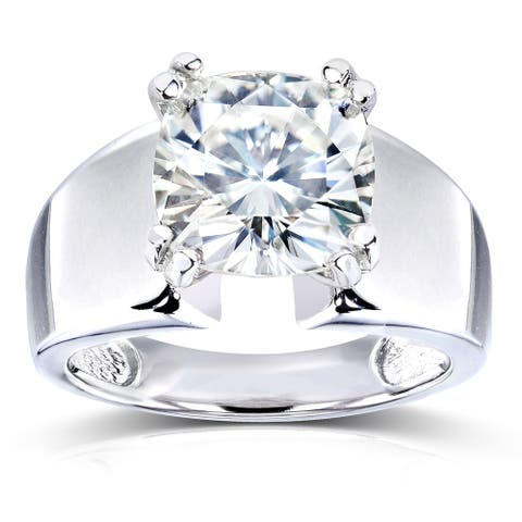 Annello by Kobelli 14k White Gold 2 4/5ct Cushion Moissanite Solitaire 4-prong Wide Flare Band Engagement Ring