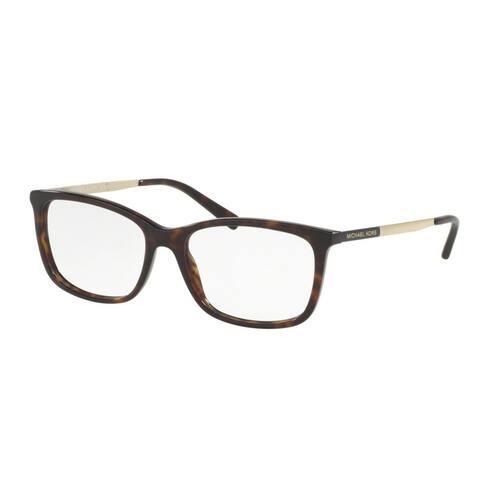 Michael Kors Women's MK4030 3106 52 Rectangle Metal Plastic Havana Clear Eyeglasses