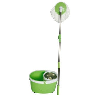 BLL-22B Green 360-Degree Rotary Head Ultra Slim Microfiber Mop and Stainless Steel Bucket