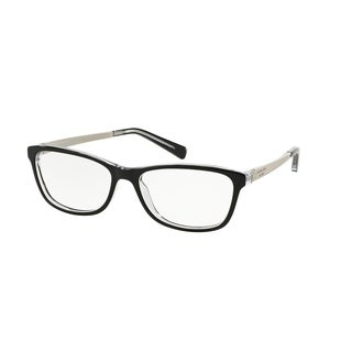 Michael Kors Women's MK4017 3033 55 Rectangle Metal Plastic Black Clear Eyeglasses