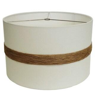 White Rope Accented Round Drum Shade