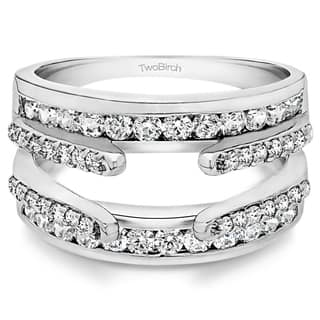 10k gold 1 110ct tdw diamond combination cathedral and classic ring guard - Wedding Ring Guards