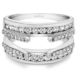 10k Gold 1 1/10ct TW White Sapphire Combination Cathedral and Classic Ring Guard