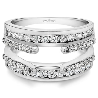 10k gold 12ct tw diamond combination cathedral and classic ring guard - Wedding Ring Guard
