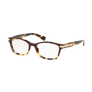 Coach Women's HC6065 5437 49 Rectangle Plastic Havana Clear Eyeglasses