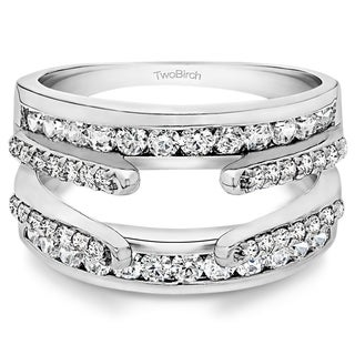 Platinum 1/2ct TDW Diamond Dual Cathedral and Classic Ring Guard