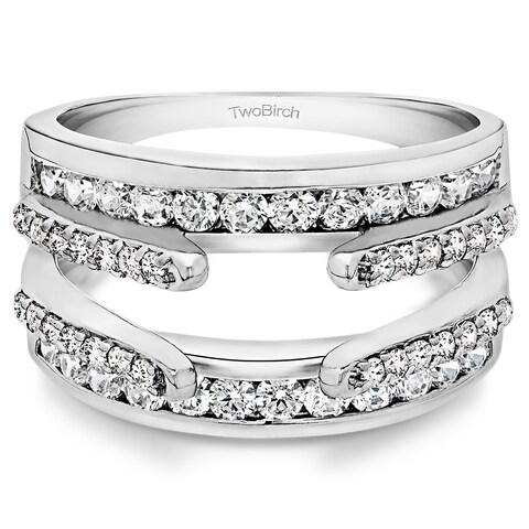 Platinum 1 1/10ct TDW Diamond Combination Cathedral and Classic Ring Guard - White