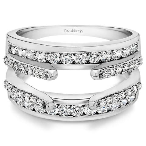 Sterling Silver 1/2ct TDW Diamond Cathedral and Classic Ring Guard