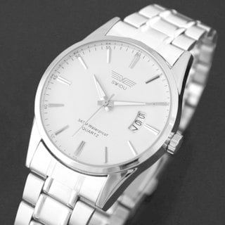 SWIDU SWI-021 Simple Modern Round White Dial Steel Band Analog Men's Wrist Watch