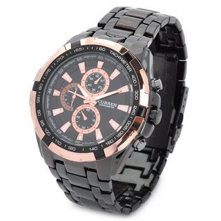 CURREN Men's Stainless Steel 8023 Stylish Black and Golden Water Resistant Quartz Wrist Watch