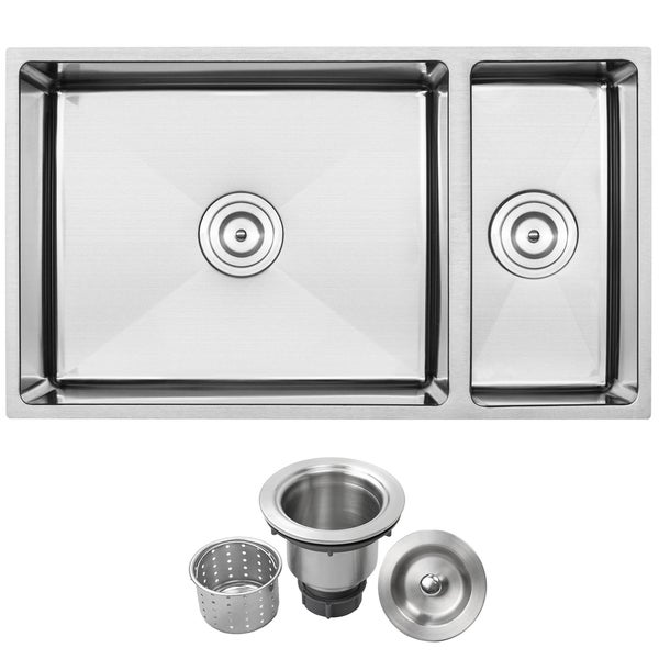 Ticor Stainless Steel Undermount 31 1/4-inch 70/30 Double Bowl Kitchen