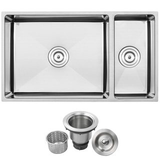 Ticor Stainless Steel Undermount 31 1/4-inch 60/40 Double Bowl Kitchen Sink with Tight Radius Corners