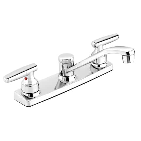 Essential EBU65WCP Polished Chrome 2-handle Kitchen Sink Faucet with Low-Arc Spout