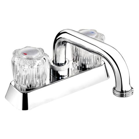 EBA40WCP Polished Chrome Acrylic Round 2-handle Laundry Tub Faucet - Silver