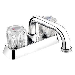 EBA40WCP Polished Chrome Acrylic Round 2-handle Laundry Tub Faucet - Silver