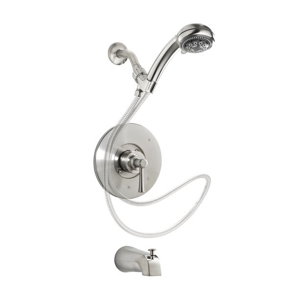 Essential Style Neo90hscbn Brushed Nickel 1 Handle Bathtub And Shower Faucet With Head