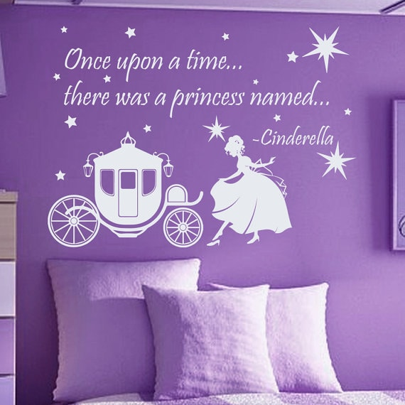 Shop Quote Once Upon A Time There Was Princess Vinyl Sticker Interior Design Nursery Decor Decal Size 48x65 Color Black