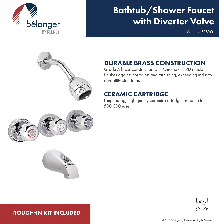 Belanger 3060w 3 Handle Bathtub Shower Faucet Polished Chrome