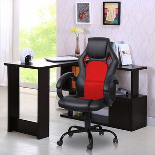 Otane High Backrest Black and Red PU Leather Racing Chair
