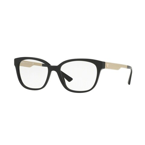 Versace Women's VE3240 GB1 52 Square Metal Plastic Black Clear Eyeglasses