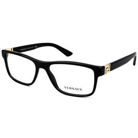 Versace Men's VE3211 GB1 55 Rectangle Plastic Black Clear Eyeglasses