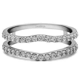 Platinum 1/4ct TDW Diamond Double Shared Prong Curved Ring Guard