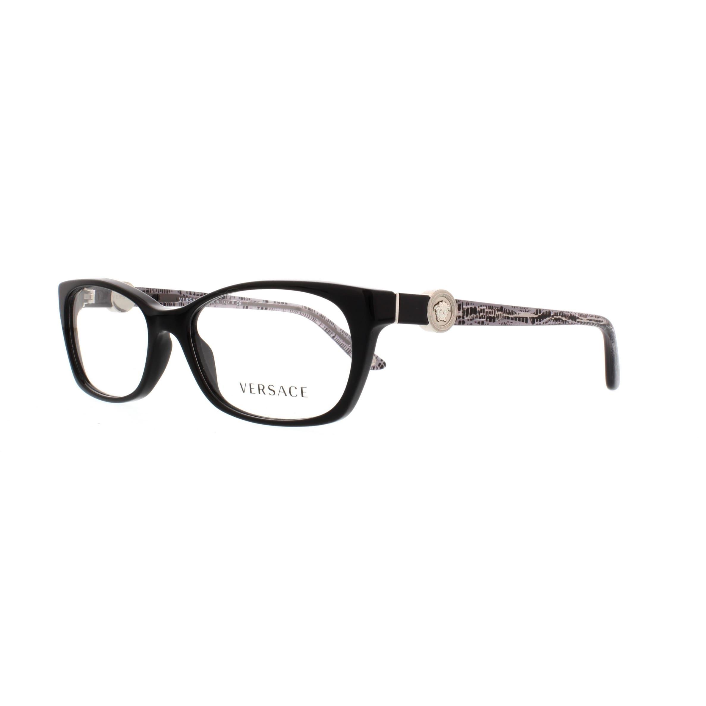 Versace Women's VE3164 GB1 53 Cateye Plastic Black Clear ...