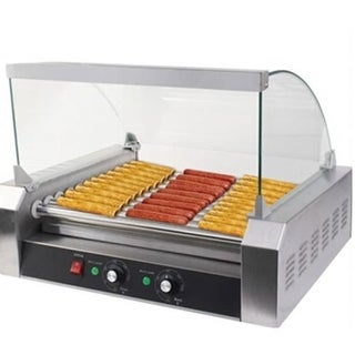 Commercial 7-Roller Stainless Steel Hotdog Machine Silver