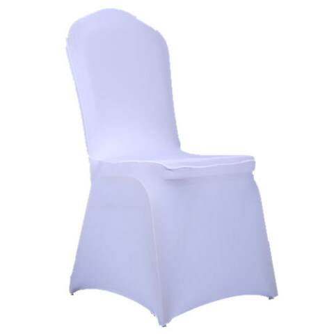 Elastic Polyester Spandex White Chair Covers (Set of 100)