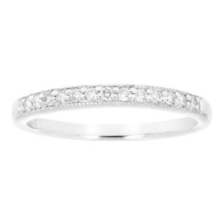 10k White Gold 1/6ct TDW White Diamond Milgrain Wedding Band - White I-J