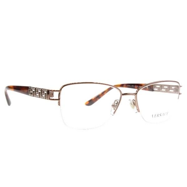 d15ed84ebefe Versace Women  x27 s VE1220B 1052 52 Cateye Metal Plastic Brown Clear  Eyeglasses