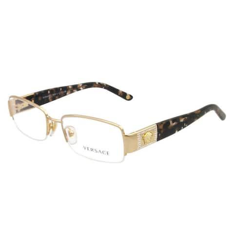 Versace Women's VE1175B 1002 53 Rectangle Metal Plastic Gold Clear Eyeglasses