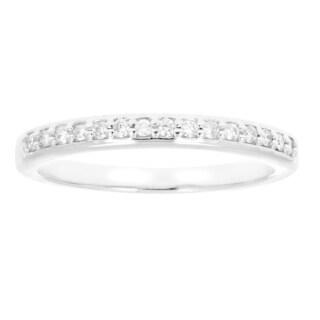 10k White Gold 1/8ct TDW White Diamond Stackable Wedding Band - White I-J